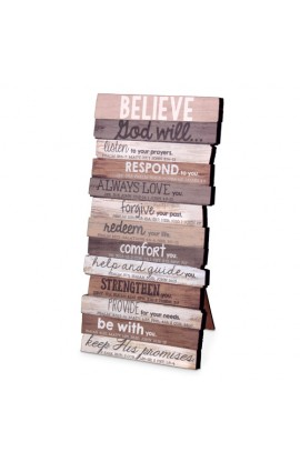 Plaque Wall Desktop MDF Stacked Wood Believe 5 x 10