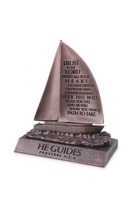 Sculpture Moments of Faith Small Bronze Sailboat He Guides