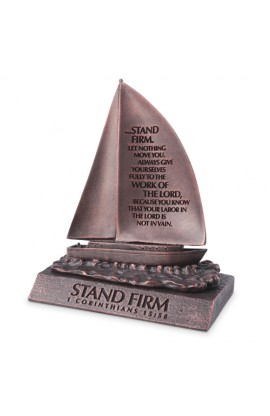 Sculpture Moments of Faith Small Bronze Sailboat Stand Firm