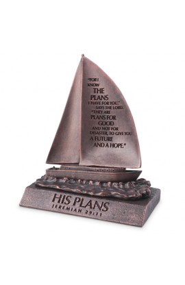 Sculpture Moments of Faith Small Bronze Sailboat His Plans