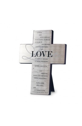 Cross Wall/Desktop Metal Silver Printed Love