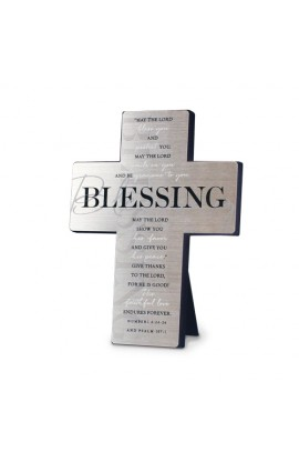 Cross Wall/Desktop Metal Silver Printed Blessing