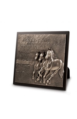 Plaque Sculpture Moments of Faith Running Horses