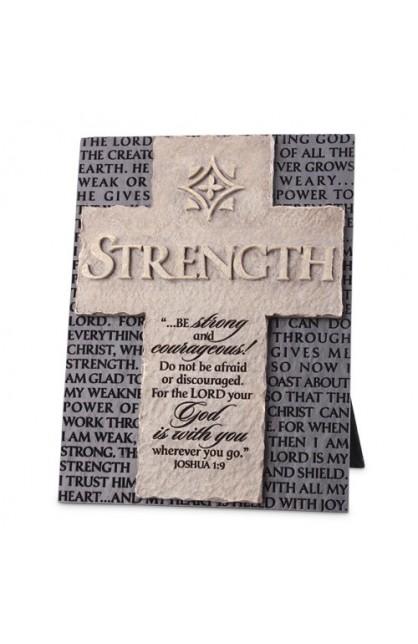 Cross/Plaque-Cast Stone-Statements of Faith-Strength