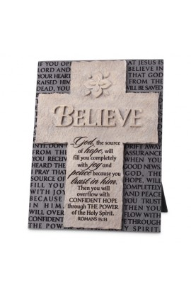 Cross/Plaque Cast Stone Statements of Faith Believe