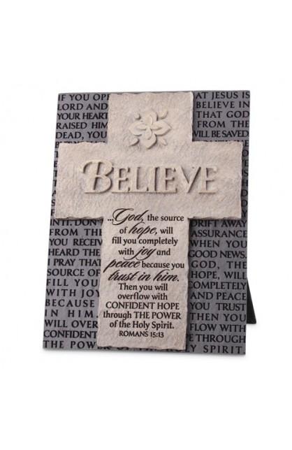 Cross/Plaque-Cast Stone-Statements of Faith-Believe