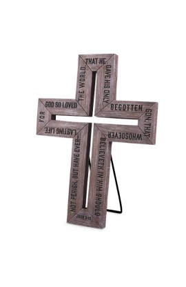 Cross-Cast Stone-Barn Wood-Medium