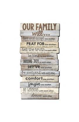 Wall Decor MDF Large Our Family Will... Stacked 15 1/4 X 29 1/8