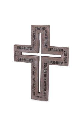 Cross Cast Stone Barn Wood Large