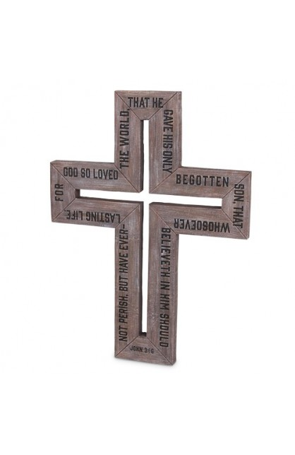 Cross-Cast Stone-Barn Wood-Large