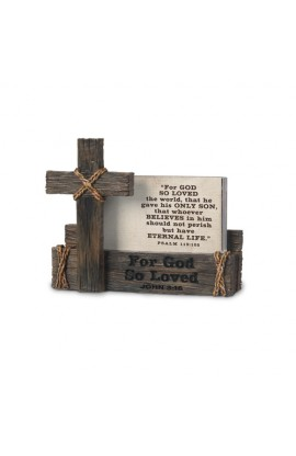 Scripture Cards With Holder Cast Stone For God So Loved