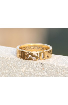 JESUS CROWN GOLD AYAT RING 46