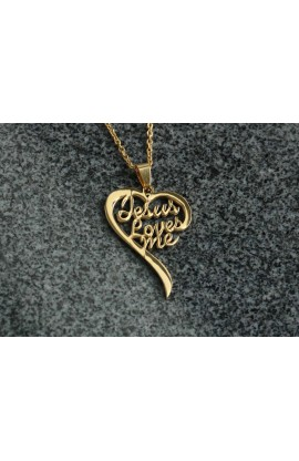 JESUS LOVES ME HEART NECKLACE (GOLD PLATED)