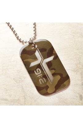 CAMO CROSS JOHN 3:16 TAG NECKLACE