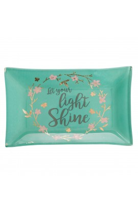 LET YOUR LIGHT SHINE TRAY GLASS TRINKET