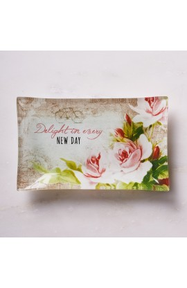 DELIGHT IN EVERY DAY TRAY GLASS TRINKET