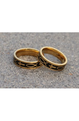 BOX OF 36 RINGS FISH CROSS GOLD AYAT RING 48