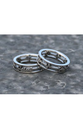 HEART BEATS JESUS SILVER AYAT RING 45