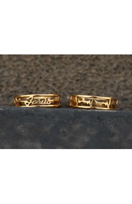 HEART  BEATS JESUS GOLD AYAT RING 44