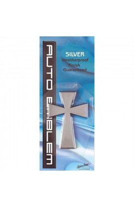 LARGE CROSS SILVER AUTO EMBLEM