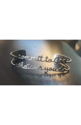 COMMIT TO GOD SILVER BANGLE