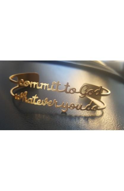COMMIT TO GOD GOLD BANGLE