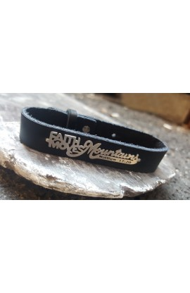 FAITH MOVES MOUNTAINS BLACK BRACELET
