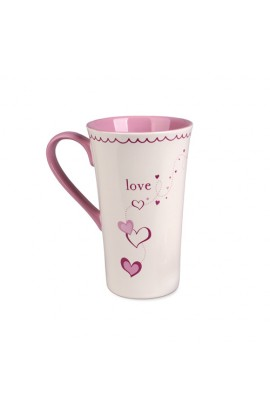 Ceramic Mug-Tall Latte-Love-Heart