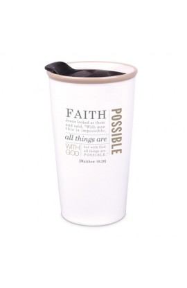 Tumbler Mug-Double Wall Ceramic-Cream-Faith