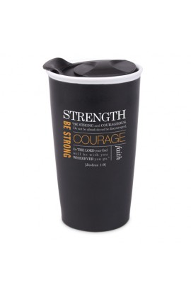 Tumbler Mug-Double Wall Ceramic-Blk-Strength