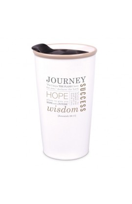 Tumbler Mug-Double Wall Ceramic-Cream-Journey