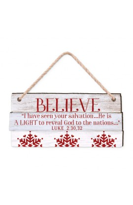 Christmas Ornament MDF Rustic Country Believe