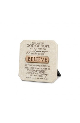 Plaque-Cast Stone-Bronze Title Bar-Believe