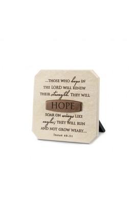 Plaque-Cast Stone-Bronze Title Bar-Hope