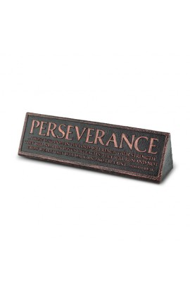 Plaque Cast Stone Desktop Reminder Copper Perseverance