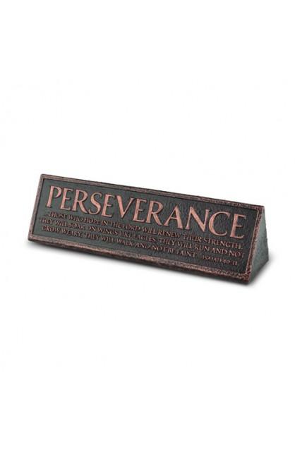 Plaque-Cast Stone-Desktop Reminder-Copper-Perseverance