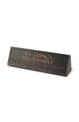 Plaque Cast Stone Desktop Reminder Copper All Things Are Possible