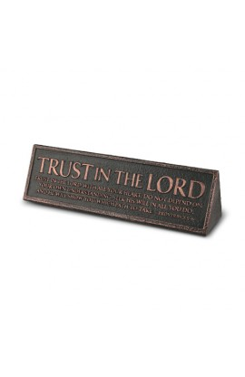 Plaque Cast Stone Desktop Reminder Copper Trust in the Lord