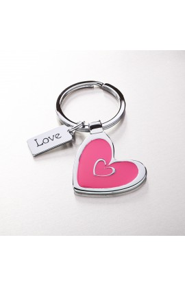 "Heart Keyring with ""Love"" Charm"