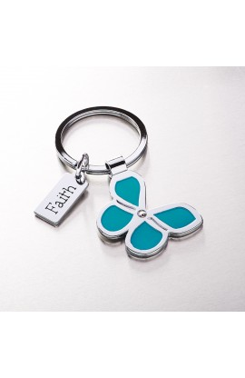 "Butterfly Keyring with ""Faith"" Charm"