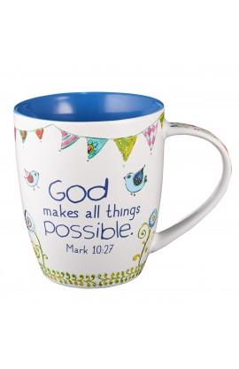 """Everyday Blessings """"Trust in God"""" Mug - Mark 10:27"""