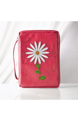 "Flower Applique ""Joy"" Leather-Look Bible Cover (Medium)"