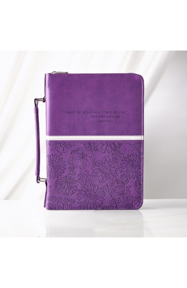 Purple Floral LuxLeather Bible Cover Featuring Jer. 29:11 (Medium)
