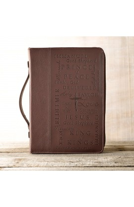 """Names of Jesus"" Two-Tone Bible Cover in Burgundy (Medium)"