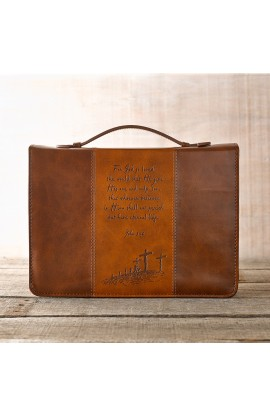 Two-Tone LuxLeather Bible Cover in Brown & Tan Featuring John 3:16 (Medium)