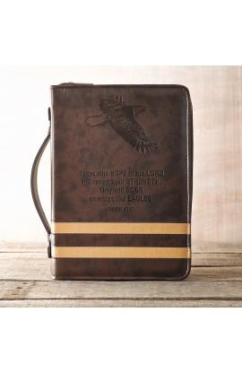 """""""Isaiah 40:31"""" Bible Cover in Brown (Medium)"""