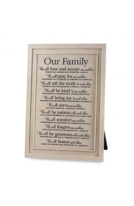 Plaque Desktop Cast Stone Small Word Study Our Family