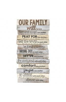 Wall Décor MDF Medium Stacked Wood Family 8 1/2 x 16 1/2