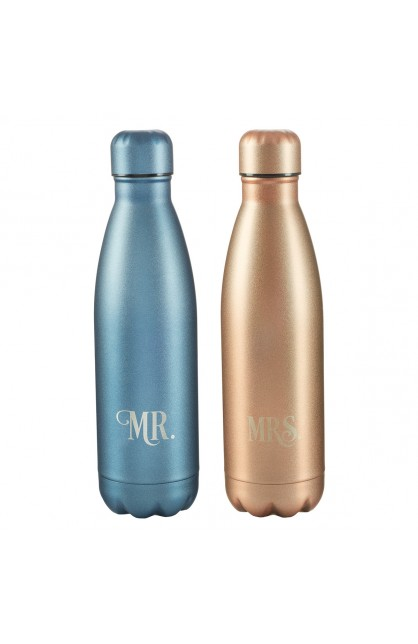 SS Water Bottle Set 2pc Mr and Mrs